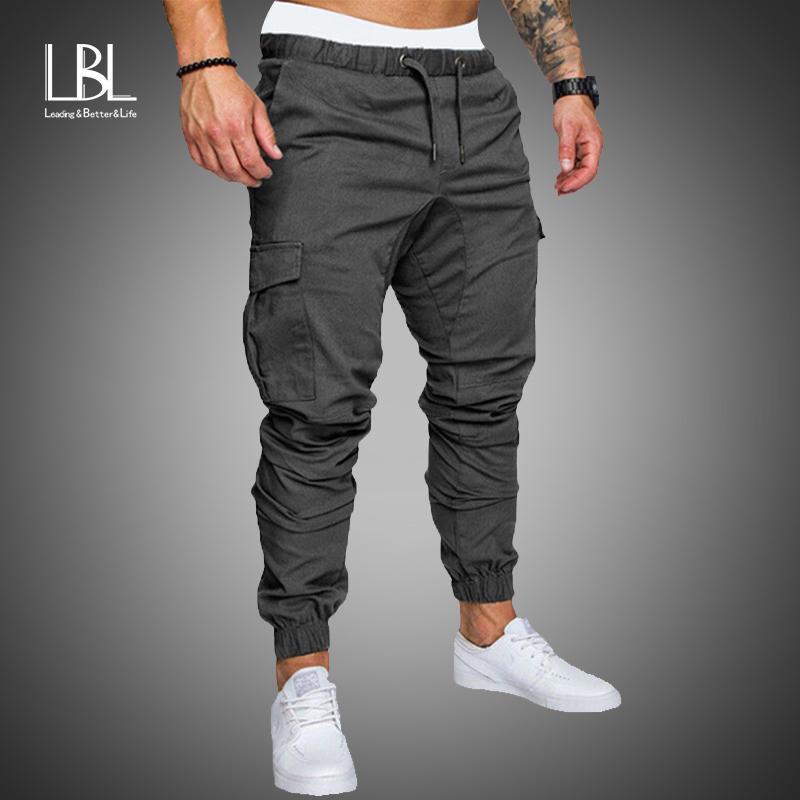 New Casual Joggers Pants Cargo Solid Color Men Cotton Elastic Long Trousers pantalon homme Military Army 2020 Pants Men Leggings Cl091901