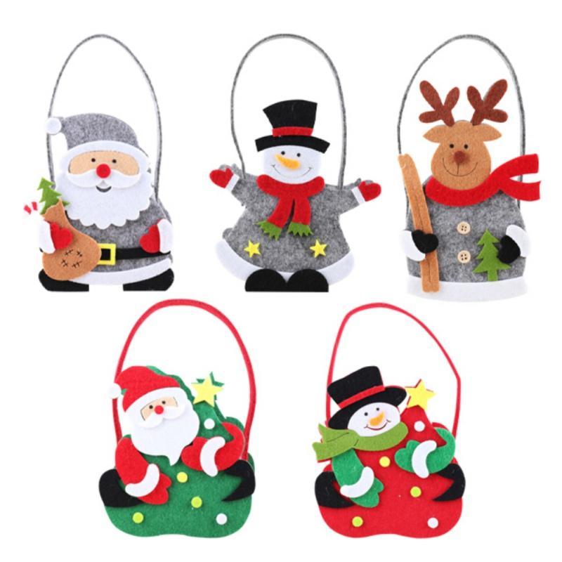 Çeşitli Desenler Noel arifesi Şeker Çanta Noel Hediyesi Çanta-Kırmızı Kardan Adam Şeker Toplama Torbası