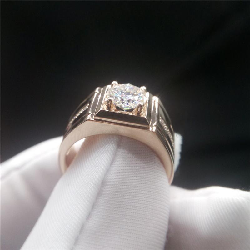 Кластерные кольца Роскошные 18K Розовое Золото Мужские Кольцо 1CT D Цвет Моисанит Отличный Круглый Режет Высококачественная Годовщина Привлечения