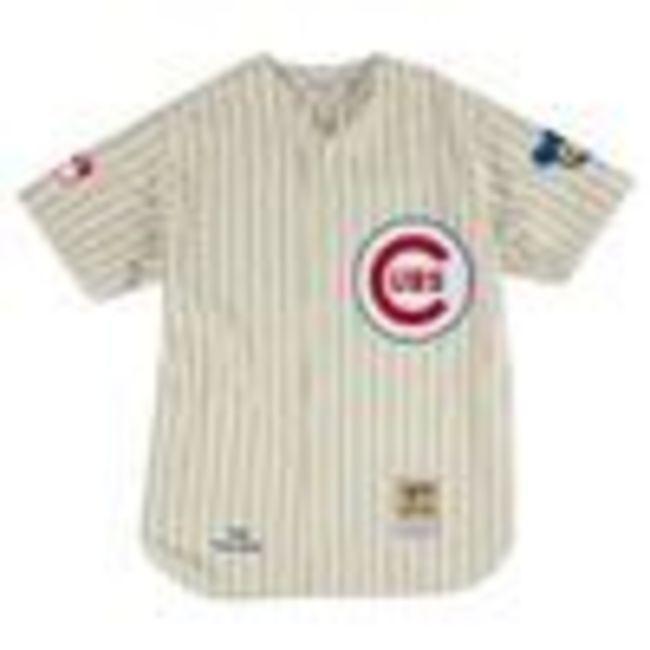 Günstige Ernie Banks # 14 Mitchell Ness Creme 1969 Mens genähtes XS-6XL Baseball-Shirts