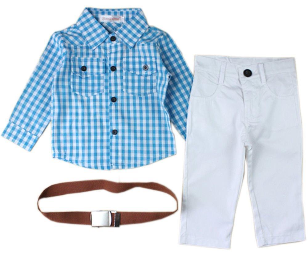3PC Semplicemente gioventù scherza i ragazzi dei bambini Set di abbigliamento del bambino del ragazzo infantile Belt + shirt + pants vestiti Outfits Abiti