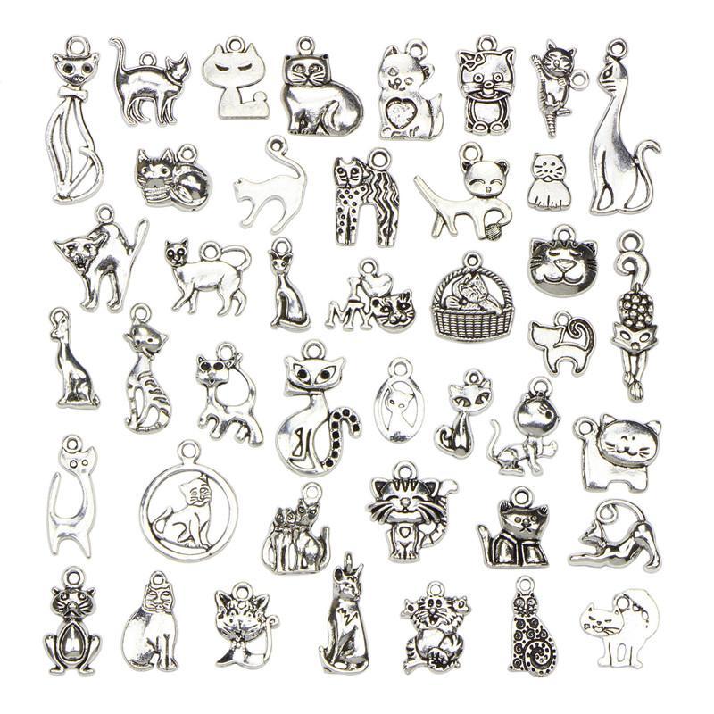 42pcs mezclado tamaño gato colgantes de los encantos plateados plata tibetana DIY Encantos Animales Craft pulseras accesorios de los