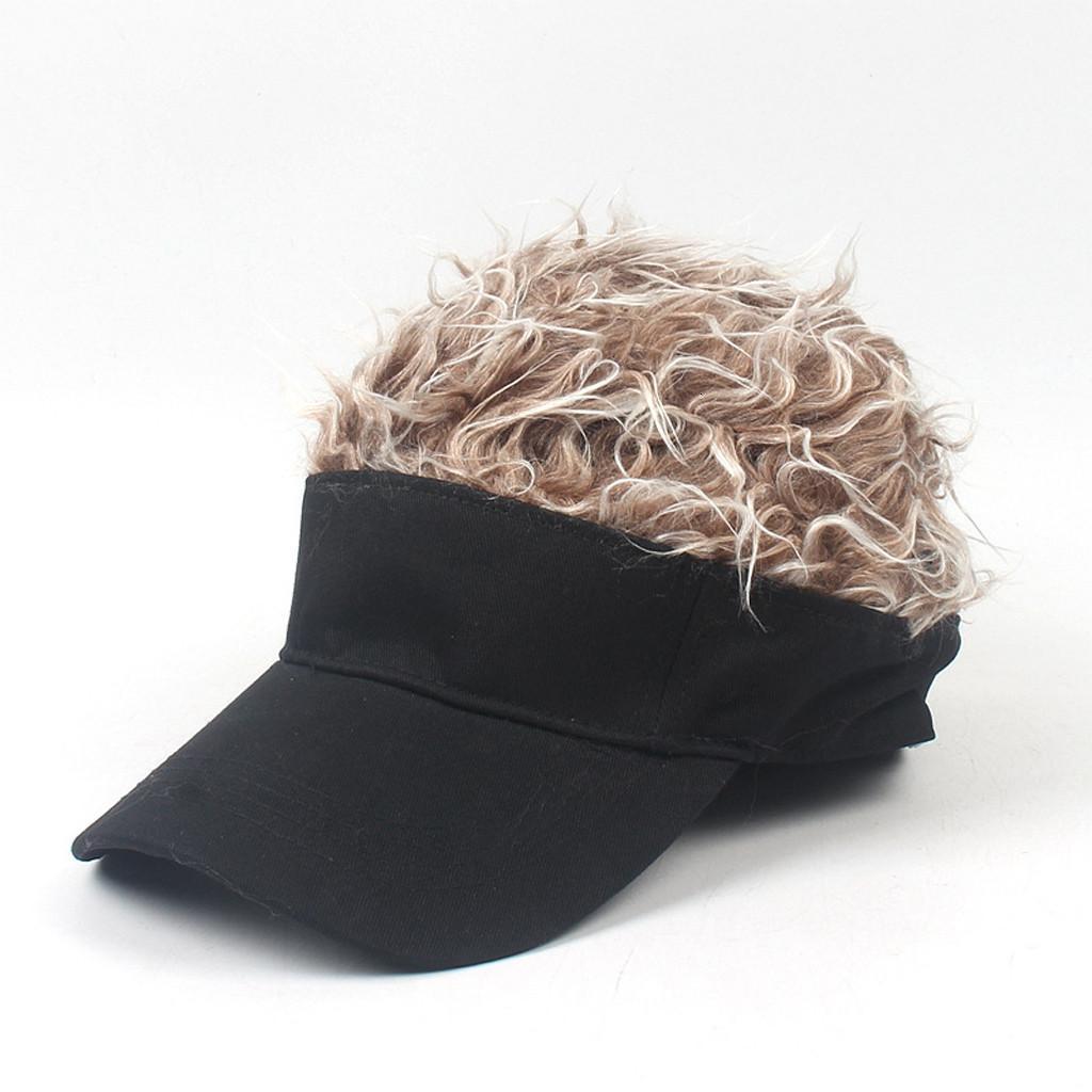 Regolabile Dimensione Uomo Falso Capelli Baseball Cap Fanny berretti Nero, vestire partito di Cosplay Etc genitore-figlio parrucca Cappello 2019