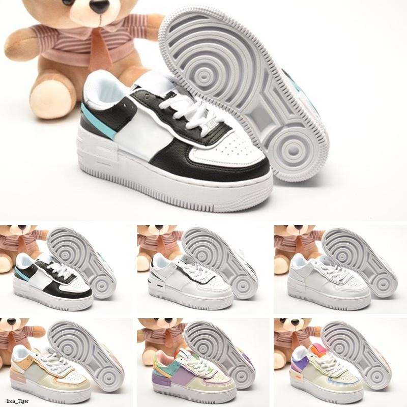 Nike Air Force 1 Shadow 2020 Fuerzas 1 sombra zapatos grandes de los niños para las zapatillas de deporte del aire del bebé muchachos de los niños Uno de chicas Dunks