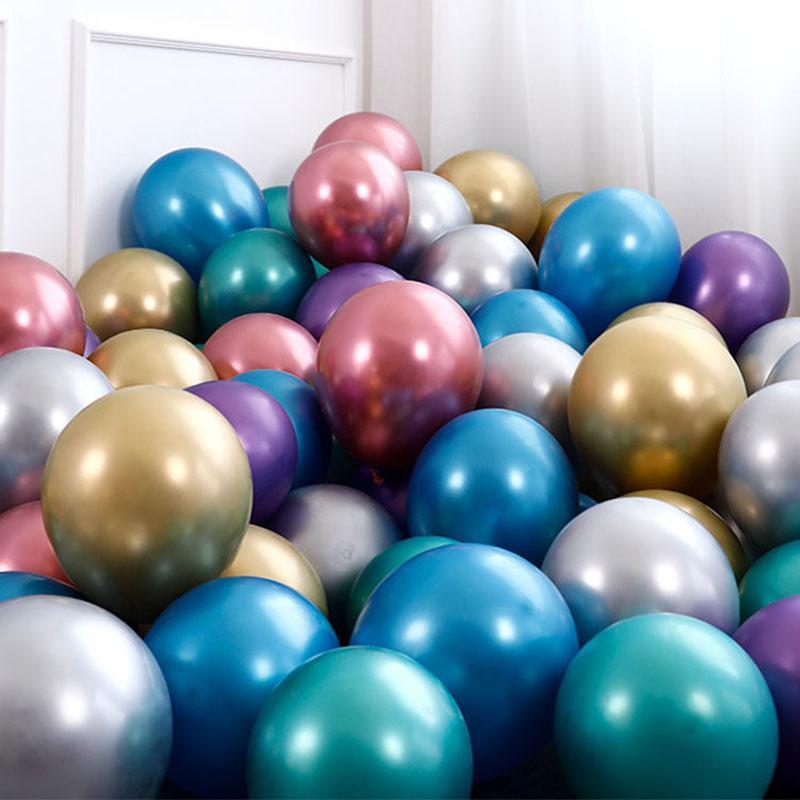도매 12 인치 라텍스 풍선 50pcs / lot 금속 색상 풍선 생일 웨딩 파티 장식
