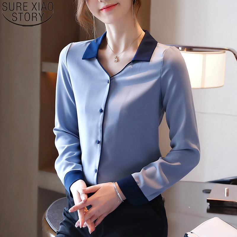 Coreana de la oficina señora camisas de las mujeres 2020 otoño Moda suelta azul blusa de la gasa sólido con cuello en V manga larga Cardigan tapas de las mujeres 11051