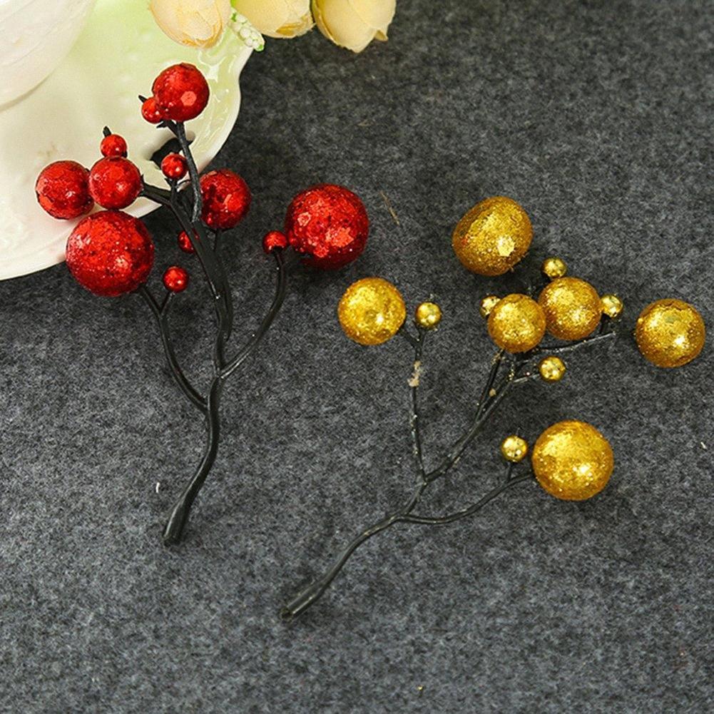 # ifd8 DIY Garland Holiday Dekor için 10 Ad Yapay Kırmızı Altın Meyveler Stamenler Dekoratif Masa Pencere Süsler DIY Berry Çelenk