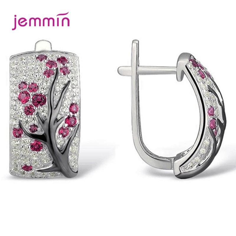 Romantik Taşlı Çiçek 925 Gümüş Erik Ağacı Şubesi Hoop Küpeler Kore Stil Parlak Düğün Takı