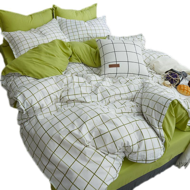 Denim cubierta del edredón cama individual Ropa de cama de algodón lavado residencia de estudiantes la hoja de cama del edredón de tres piezas Set