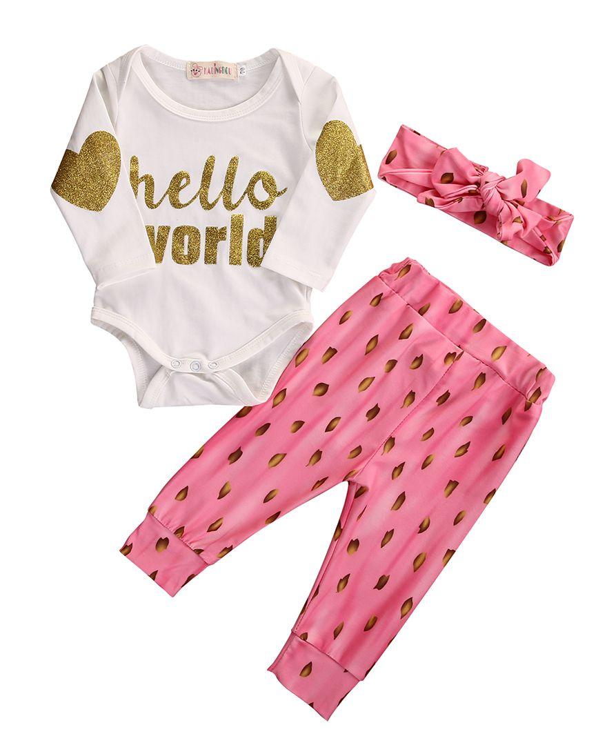 New Fashion Baby Girls Golden Letter Bodysuit Sets Autumn Jumpsuit And Casual Pants Leggings Headband 3PCS Outfits Set 0-18M
