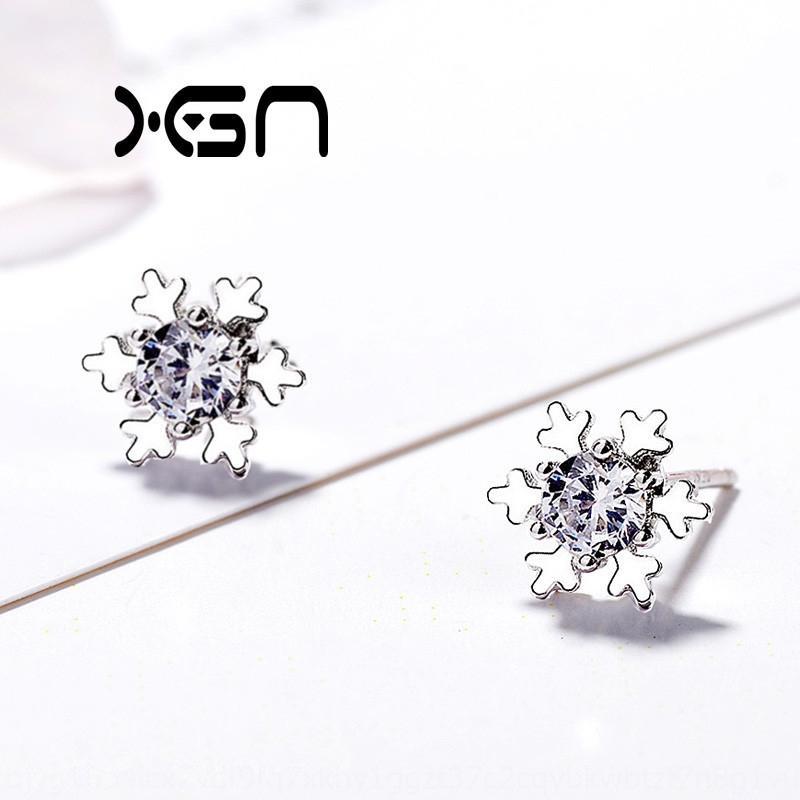 kctx0 Nouveau concept S925 diamant et boucles d'oreilles boucles d'oreilles diamant de flocon de neige en argent sterling doux de production simple hiver coréenne de Noël