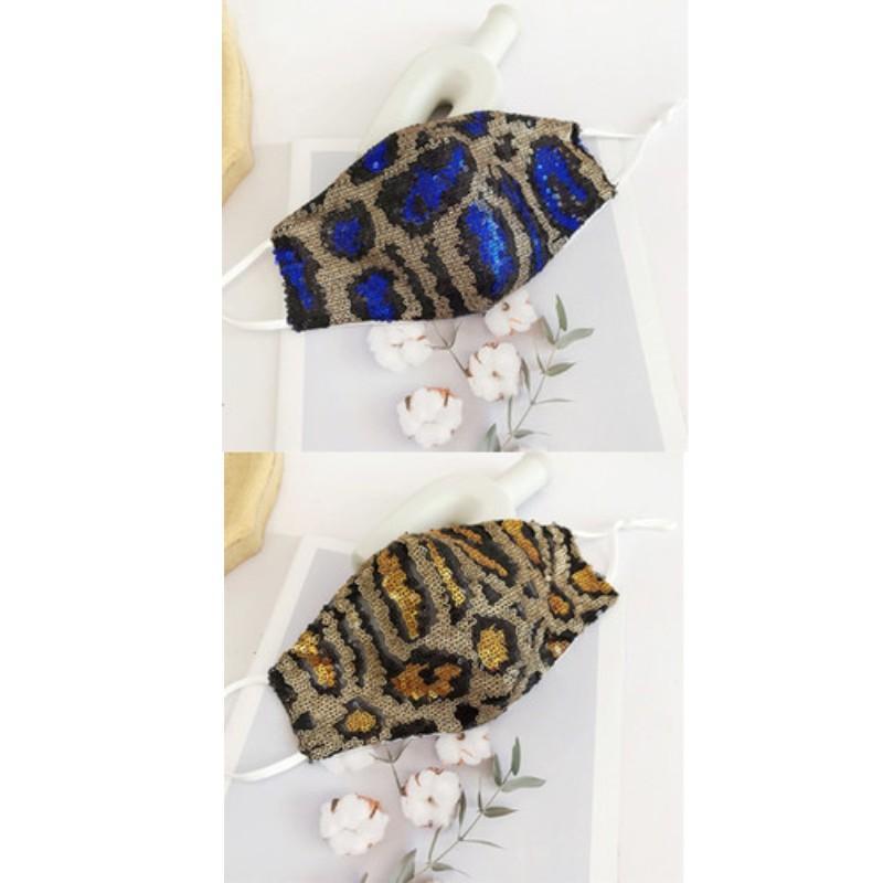 Moda paillettes Maschera con stampa leopardata Mascarilla respiratore Reuseable regolabile antipolvere multicolore dell'orecchio Tipo d'attaccatura Donna 4 3jm D2