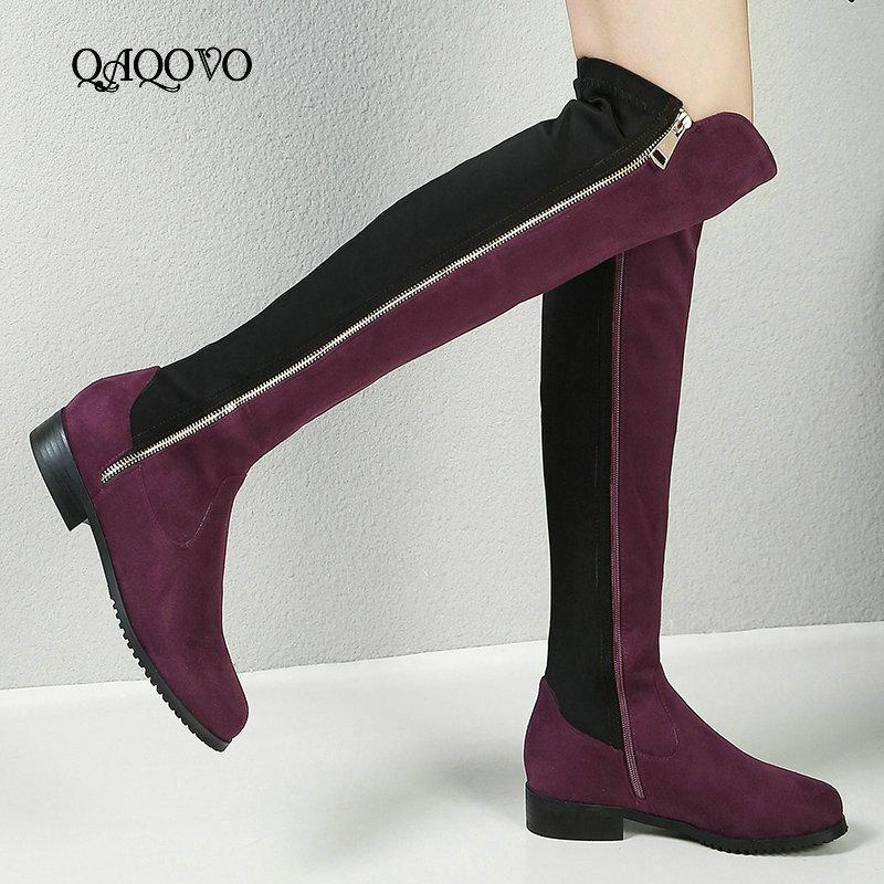 Fashion Stretch Frauen Stiefel bequem niedrige Ferse-runde Zehe kniehohe Stiefel Frauen Mischfarben Herbst-Winter-Schuhe Große Größen-34-43