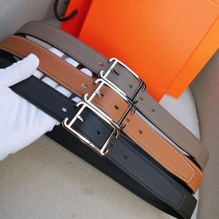 Hombre y femenino de doble cara Cuero de vaca Simple All-Match Cinturón de cuero real Moda 2020 Nuevo Internet Celebrity Belt H PIN TQVPK