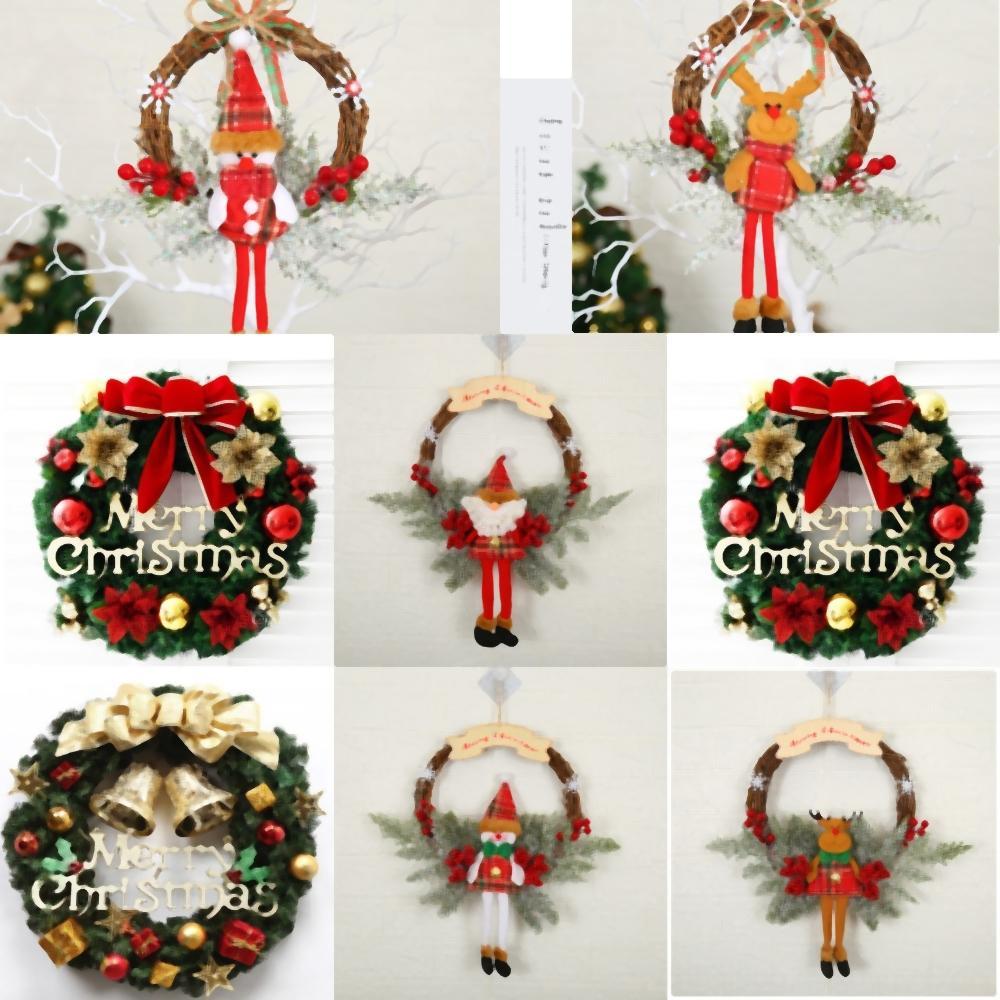 decoración de guirnaldas wRKua Rattan Inicio VD Navidad Con Papá sueco Tomte delantero de vacaciones Puerta Coronas Para guirnalda de la decoración de la pared Dropshipping Gno