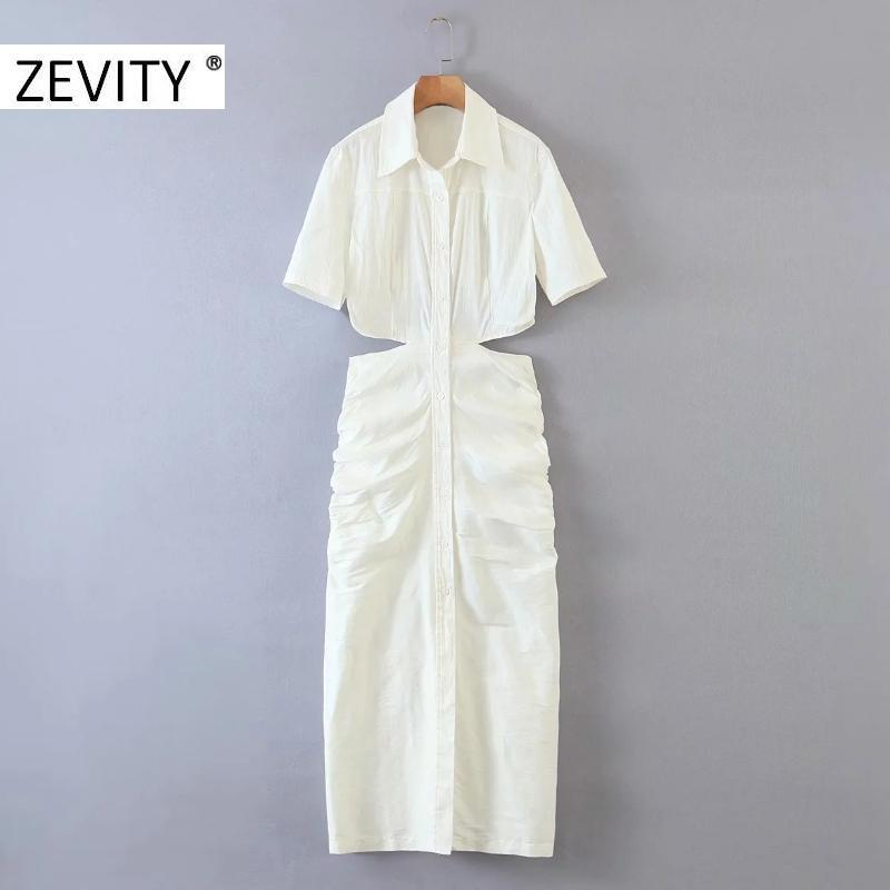 Günlük Elbiseler ZEVITY Kadınlar Seksi Bel Kesim Kapalı Oymak Pileli Ince Shirtdress Bayanlar Kısa Kollu Vestidos Chic Parti DS4243