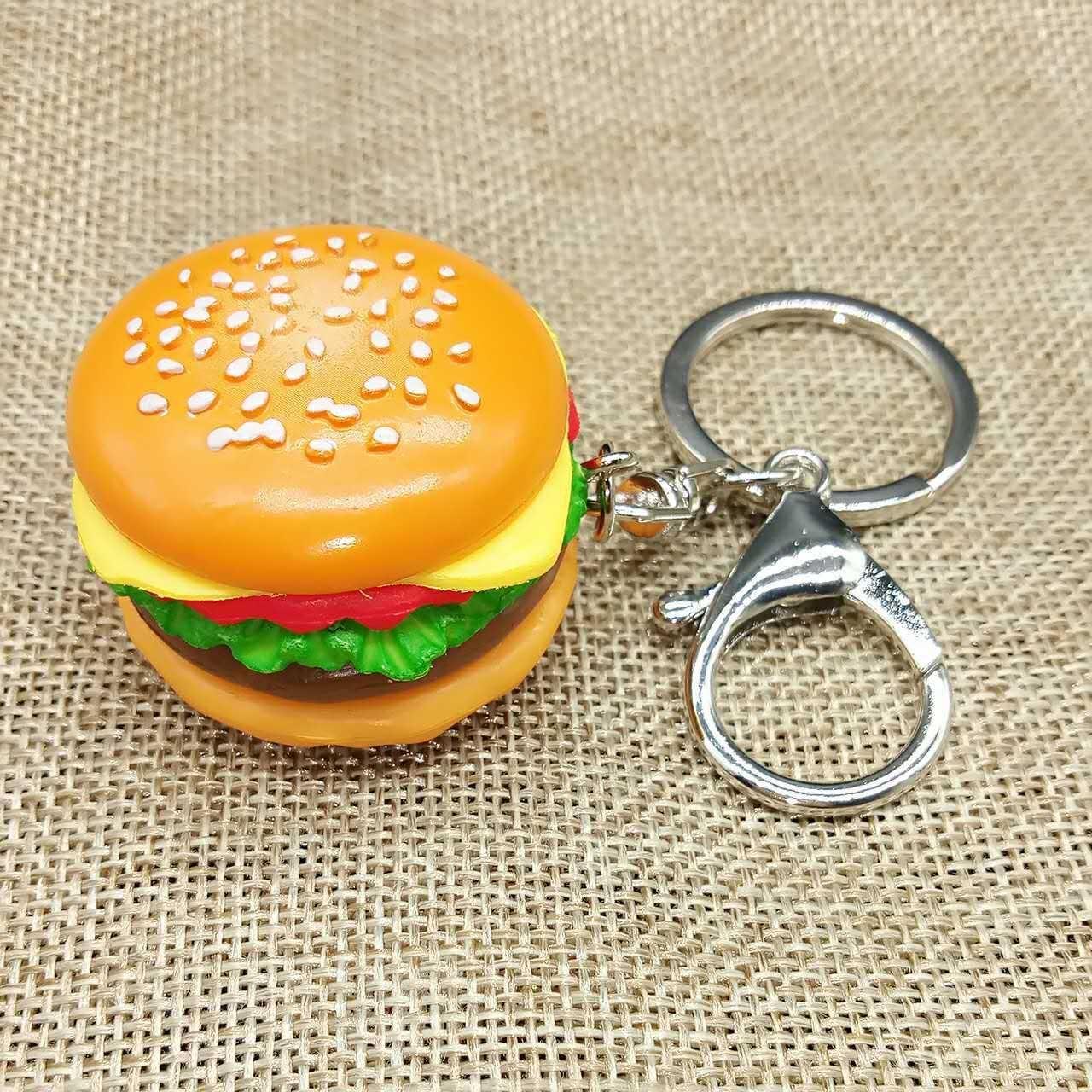 Karikatur Kreative Artificial Hamburger Keychain DIY handgemachte Zusätze Harz Lebensmittel Handy-Shell-Beutel-Anhänger Ornaments