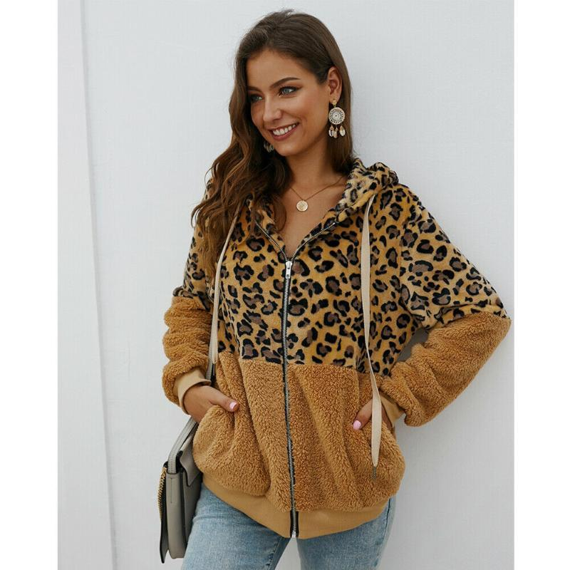 Capa de la chaqueta de las mujeres caliente Leopard Impreso invierno polar con capucha de la cremallera Casual manga larga Outwear Abrigo