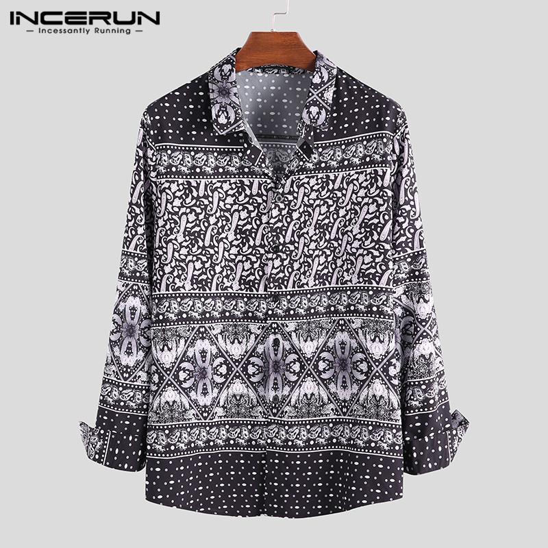 Sıcak Satış Erkek Gömlek Etnik Stil Baskılı Gömlek Erkekler Yaka Yaka Vintage Uzun Kollu Bluz High Street Düğme rahat gömlekler Asya Boyutu Mens