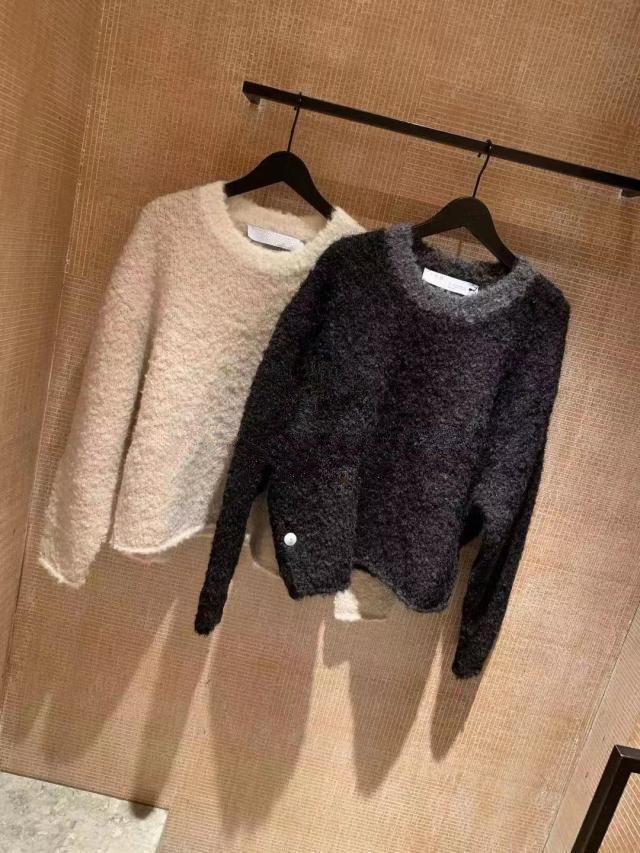 2019 осень и зима Новый Круглый шею и Новый Круглый воротник Lamb Сыпучие вязать свитер Все-в-одном Черный свитер женщин