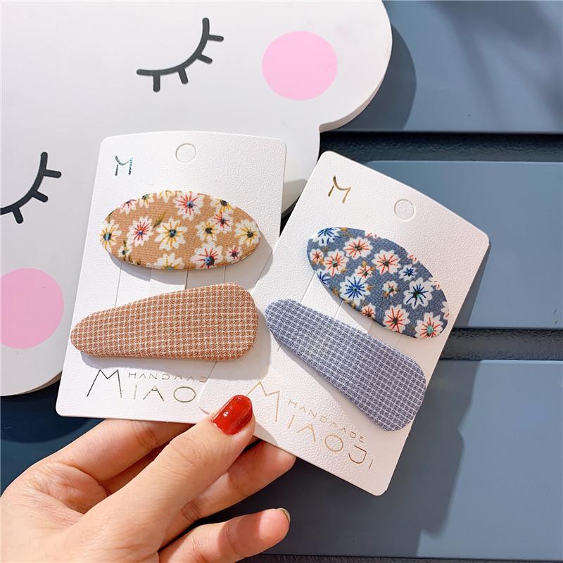 2pcs / set Neue Kinder Blumen Pins Mädchen Oval Clips Mode Plaid Haarnadel Kinder Geometrischer Haarschmuck Kopfbedeckung Set