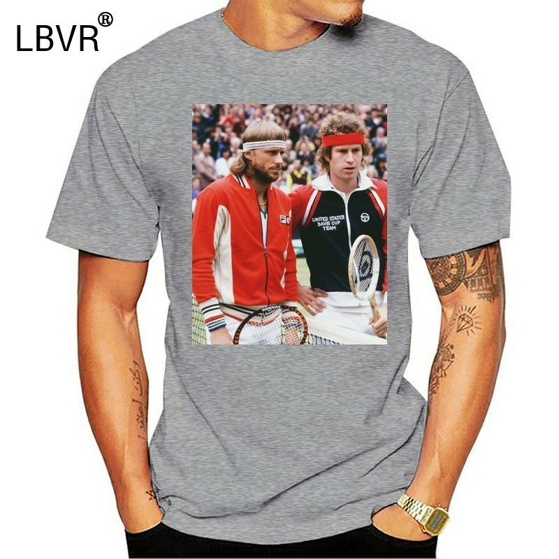 John McEnroe Bj Rn Borg tennist Homens Mulheres Unisex Camiseta 2040 Qualidade camisetas Homens Impressão manga curta O Neck T-shirt