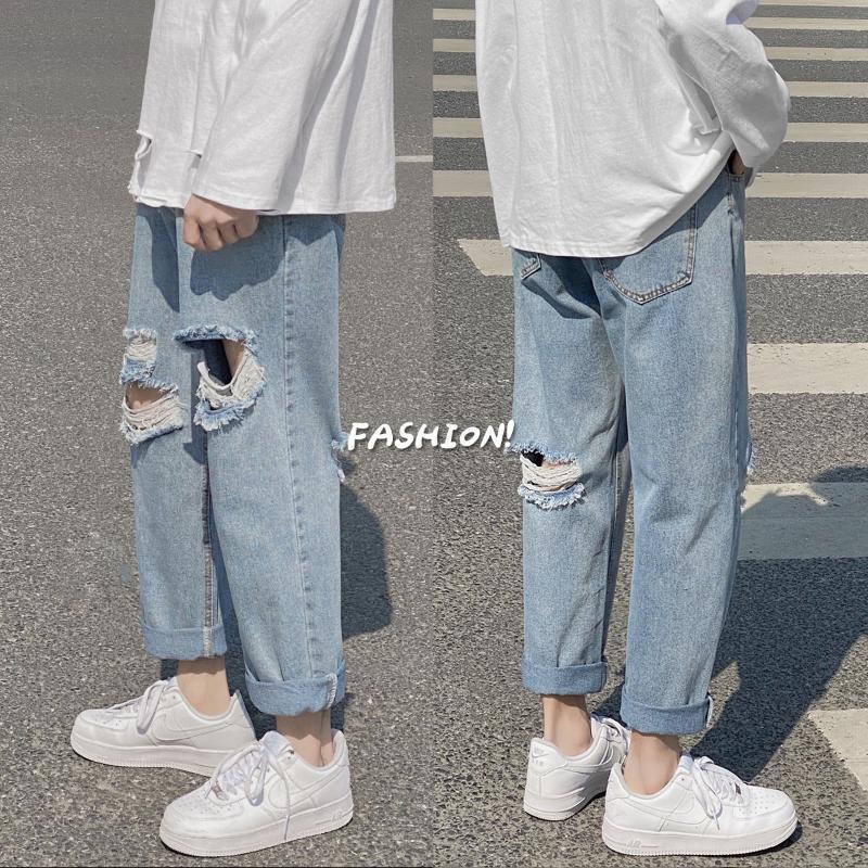 2020 Outono Nova Casual Denim dianteiro e traseiro Buracos tornozelo comprimento solto Calças Juventude na moda reta M-5XL