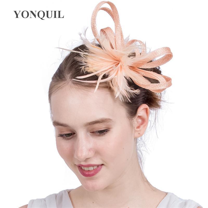 Top Sinamay DIY Bow Pałąk Klipy Włosów Chamoange Fether Faszynator Akcesoria Do Włosów Dla Dziewczyn Kobiety Wedding Party Races Headwear SYF165