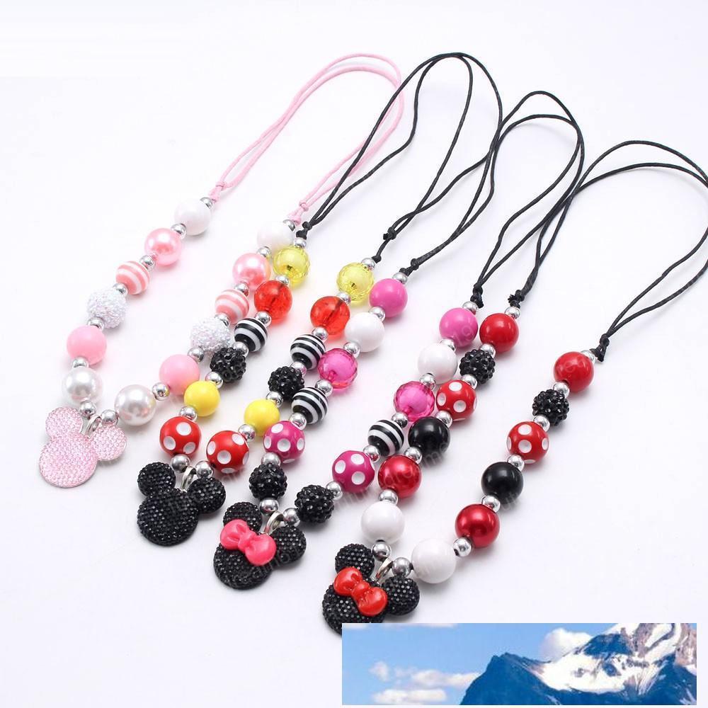 Moda cartoni animati perle di collana pendente bambino grosso bubblegum collana catena di gioielli fai da te corda per le ragazze del regalo bello