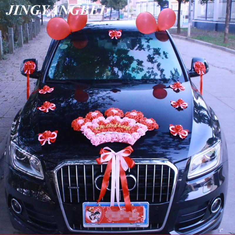 Düğün arabası dekorasyon ön çiçek kümesi kalp şeklindeki taç çiçek düğün arabası ekibi yapay dekorasyon
