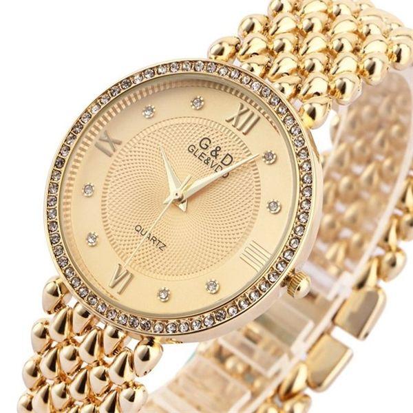 GD Donne polso del quarzo della vigilanza del braccialetto delle signore vigilanza del vestito Relogio Feminino Saat Gifts Top Brand di lusso Reloj Mujer argento X0926