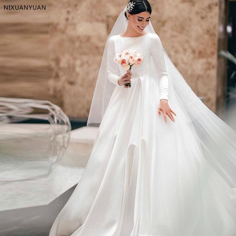 Simple White Vintage Ivory A-line Vestidos de casamento mangas compridas Real cetim vestidos de noiva Castle Garden nupcial Dresses vestidos de noiva