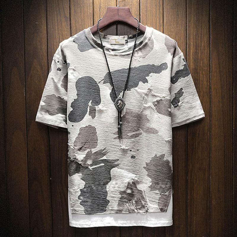 Summer T Shirts Men Tops Fashion Short Sleeve Men Round Neck Cotton Camouflage Shirt T Shirts plus size