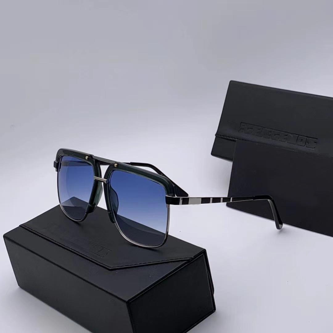 Legenden Jahrgang 9086 Sonnenbrille Silber Schwarz / Blau-Objektiv gafas de sol Männer Pilot Sonnenbrille Neu mit Box