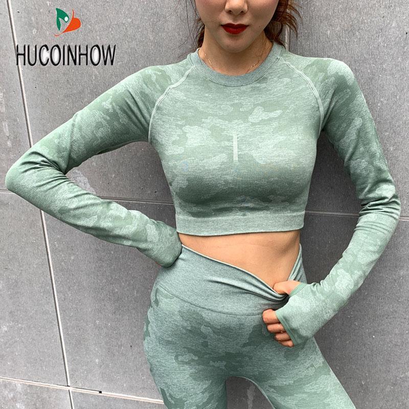 HU Yoga sin fisuras Vital Gym Top Tops de entrenamiento para mujeres Fitness Gym Crop Top atlético camisa de la yoga Mujeres Active Wear