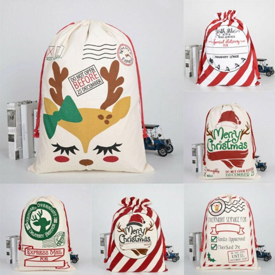 Saco do Natal Bolsas 11 estilos grande lona Feliz Saco dos doces de Natal de Santa Sack Xmas Stocking rena presente Storage Bag DDA534