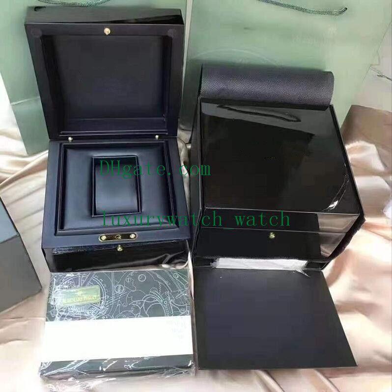 Boîte à tague en bois noir avec manche à main 15703 26703 Offshore Oak Mens Mesdies Montres cadeau pour boîtes d'origine