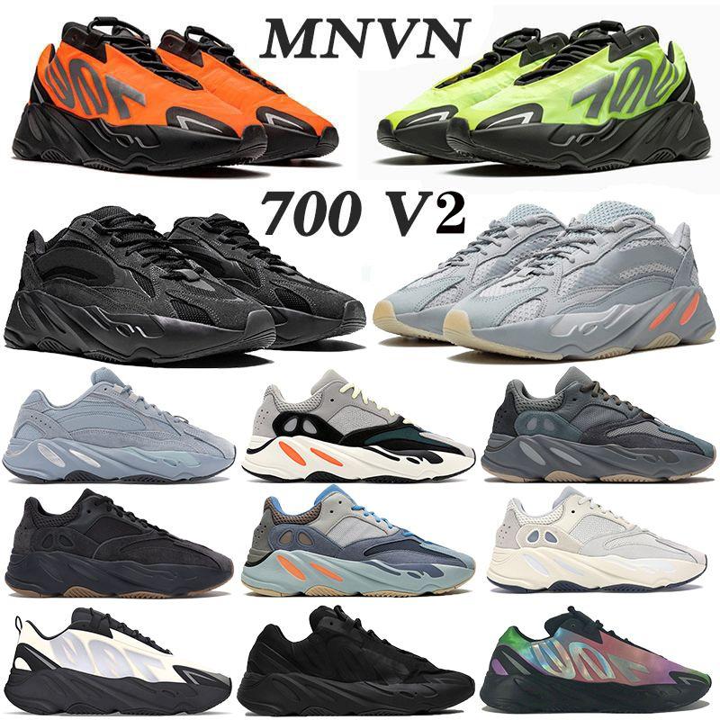 700 MNVN Kanye West Reflective Knochen Phosphor Runner Männer Frauen Laufschuhe V2 Krankenhaus Carbon-blau Fest Grau Trägheit Sport-Turnschuhe
