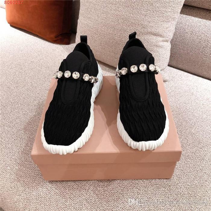 esportes Womens respirável tecido de cristal sapatos casuais, boca baixo manga, tênis com sola embalagem original ondulado de espessura