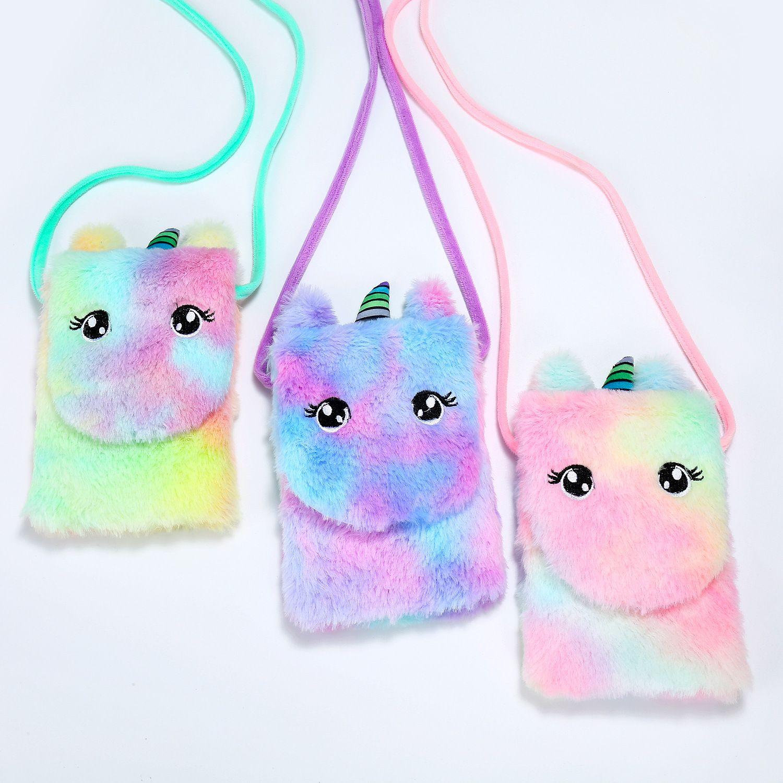 어린이 유아 아기 유니콘 인형 메신저 가방 어린 소녀 전화 가방에 대한 유니콘 봉제 지갑 핸드백 아이 크로스 바디 만화 동전 지갑