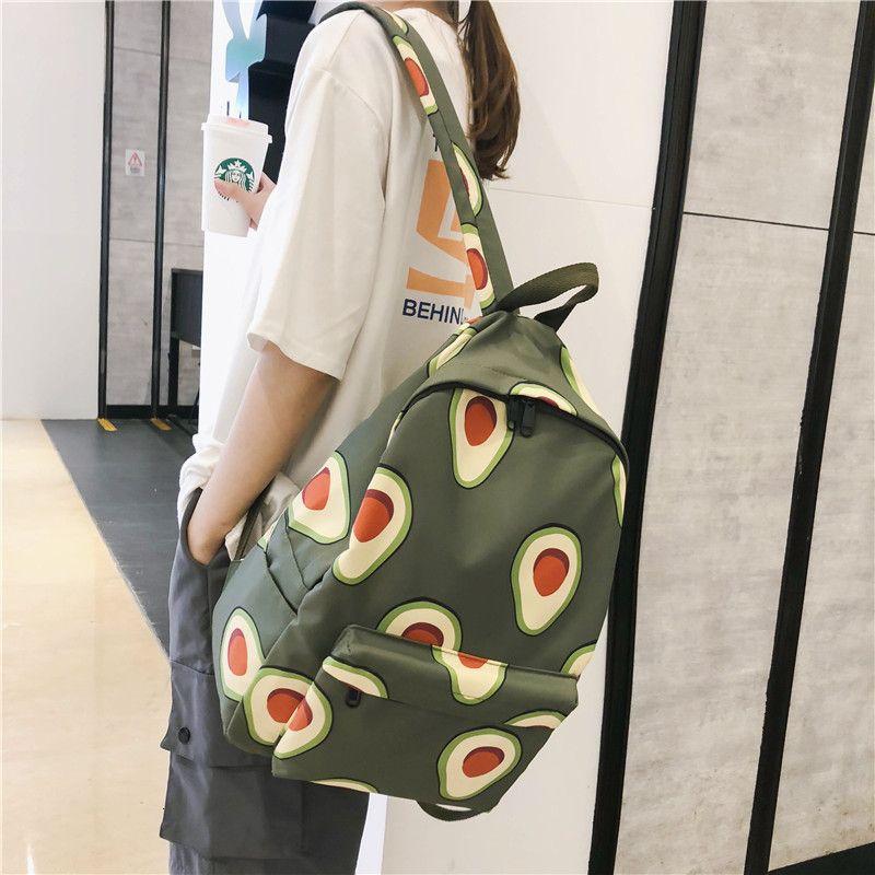 Frutas de la historieta Animales Imprimir mujeres mochila de lona de gran capacidad de Estudiantes de la Escuela de viaje Mochila Mochila aguacate Femenina