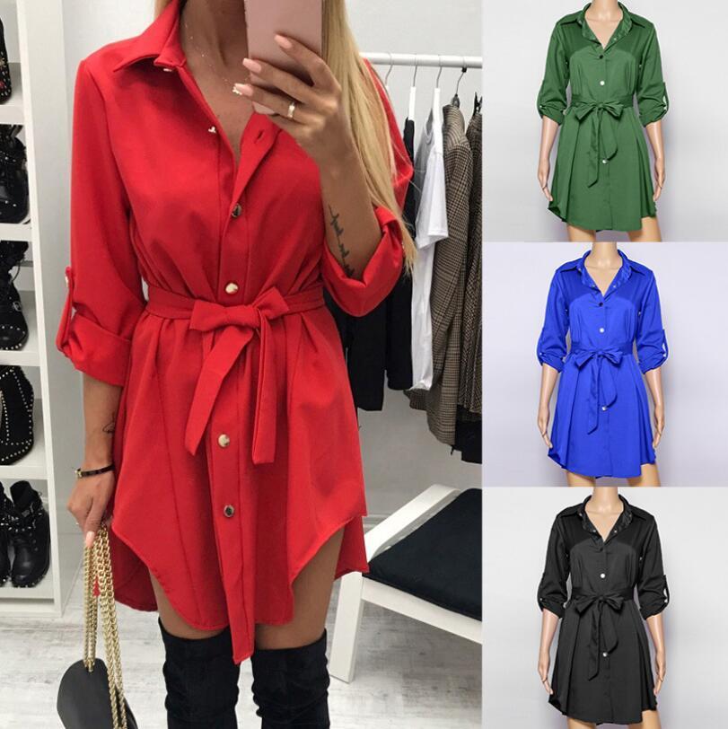 Irregular tie waist shirt dress Women autumn 2019 wrap dress Long sleeve turn down collar Army green red short mini dresses