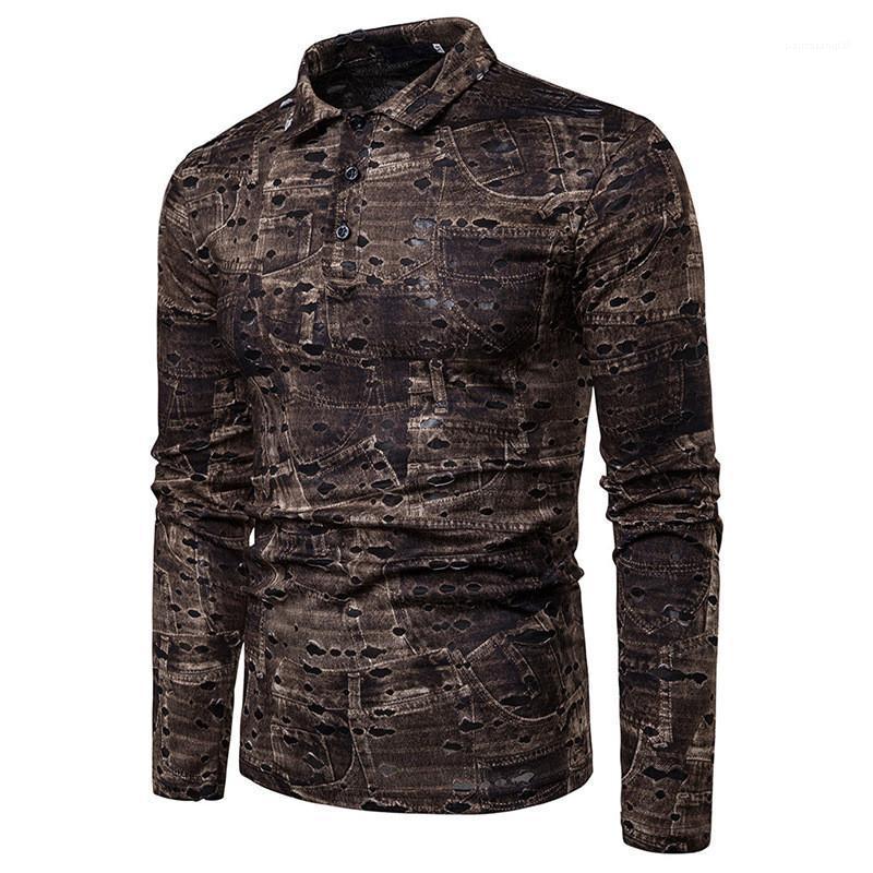 Uzun Kollu Yaka Boyun Moda Genç Casual Gömlek Bahar Erkek Giyim Erkek Tişört Tasarımcı Hole yazdır