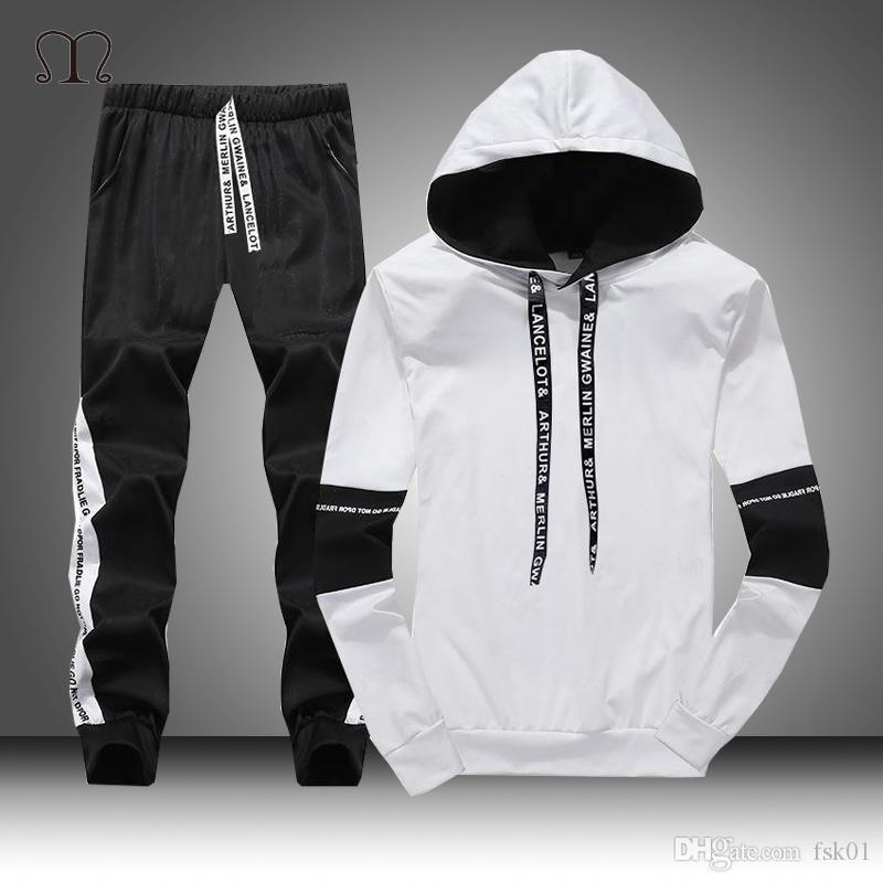 Белый Черный Мужчинам Толстовки Set Мода 2020 осень Марка Повседневный костюм Mens Set Sports двухкусочный Лоскутная Hoodie Pant Мужской костюм