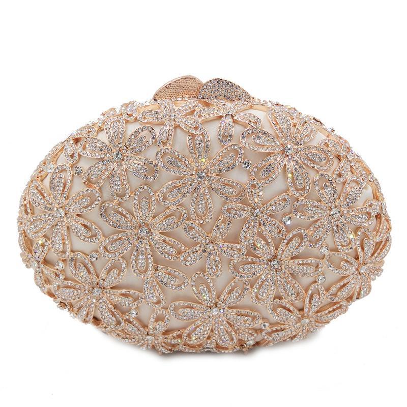 femminile rosa di cristallo del diamante delle borse delle donne metallo pochette da sera scava fuori da festa di nozze di promenade della borsa