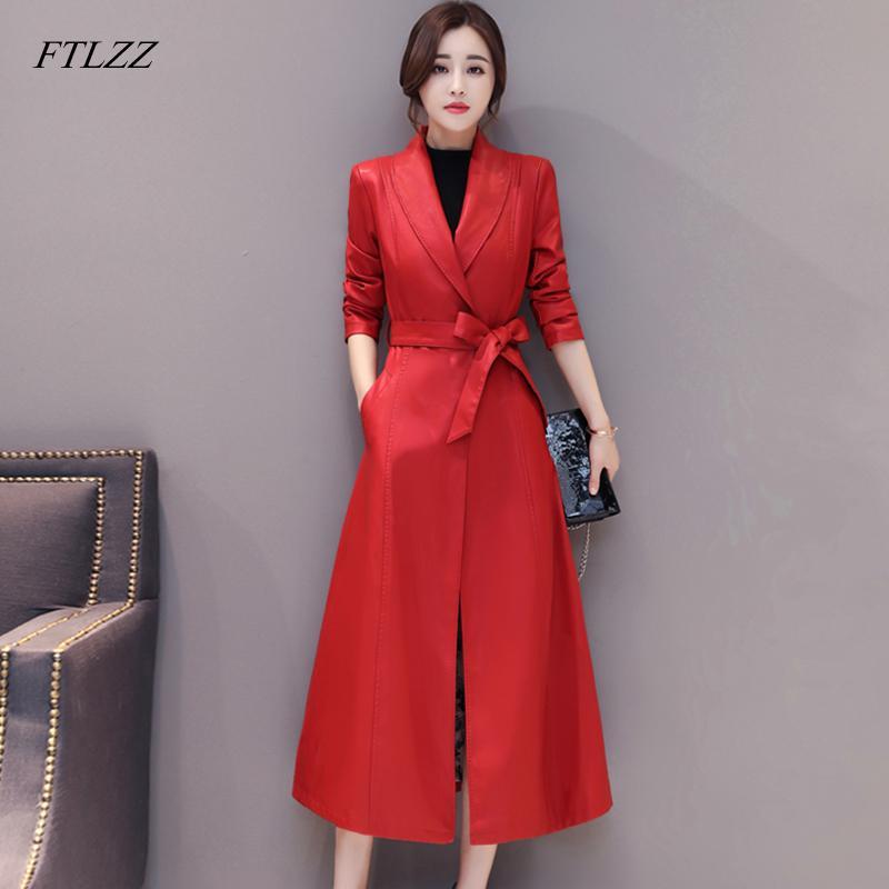 FTLZZ nuova delle donne pecora genuina Giacca Autunno Inverno giacche lunghe addensare Genuine Leather Coat Office Lady tuta sportiva della trincea