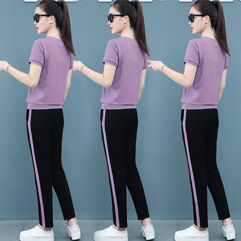 Sports casual suit women's summer 2020 new Korean style sports casual two-piece fashion loose slimming Western style running suit two-piece