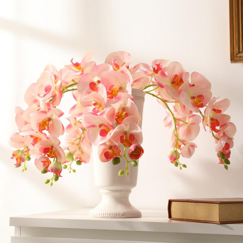 5pcs / Lot 9Heads grande farfalla Orchidea Fiori Artificiali la decorazione domestica Wedding display falso Orchid fiori di seta Branch Corona
