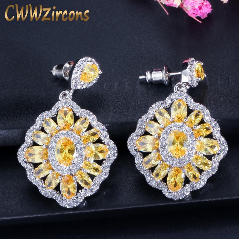 11 Farboptionen Weinlese-Frauen-Schmuck Silber Farbe Gelb Kristall baumeln Ohrringe mit Zirkonia Gepflasterte CZ339