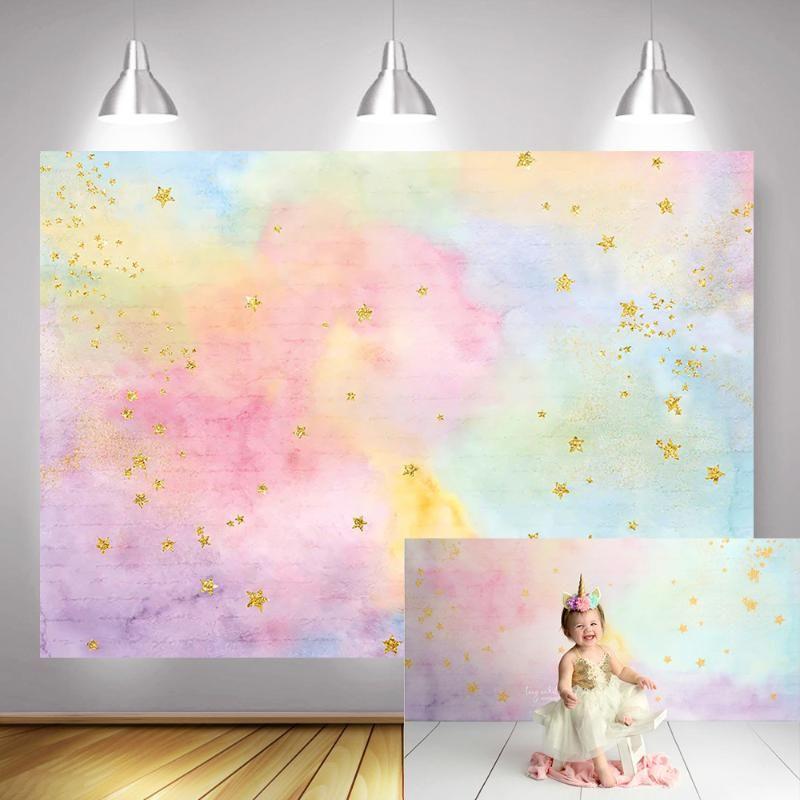 Rainbow Newborn Artistic Photo Background Golden Twinkle Little Star Dreamy Sweet Children Birthday Backdrop for Photo Studio